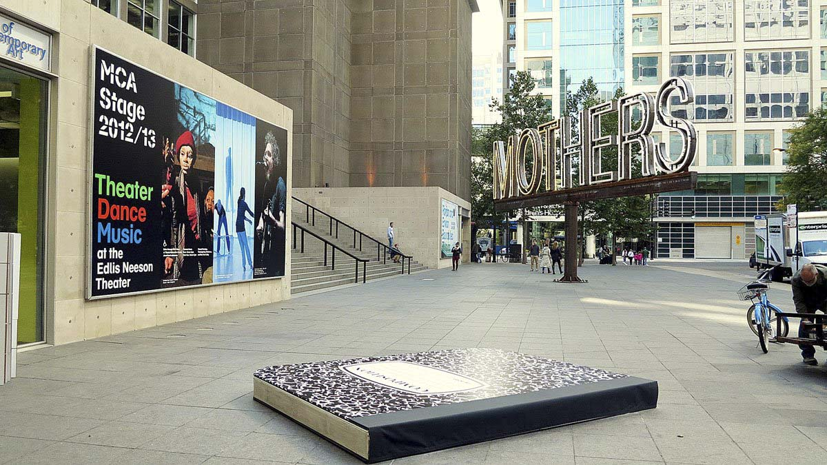 The giant sketchbook was installed in the MCA entrance