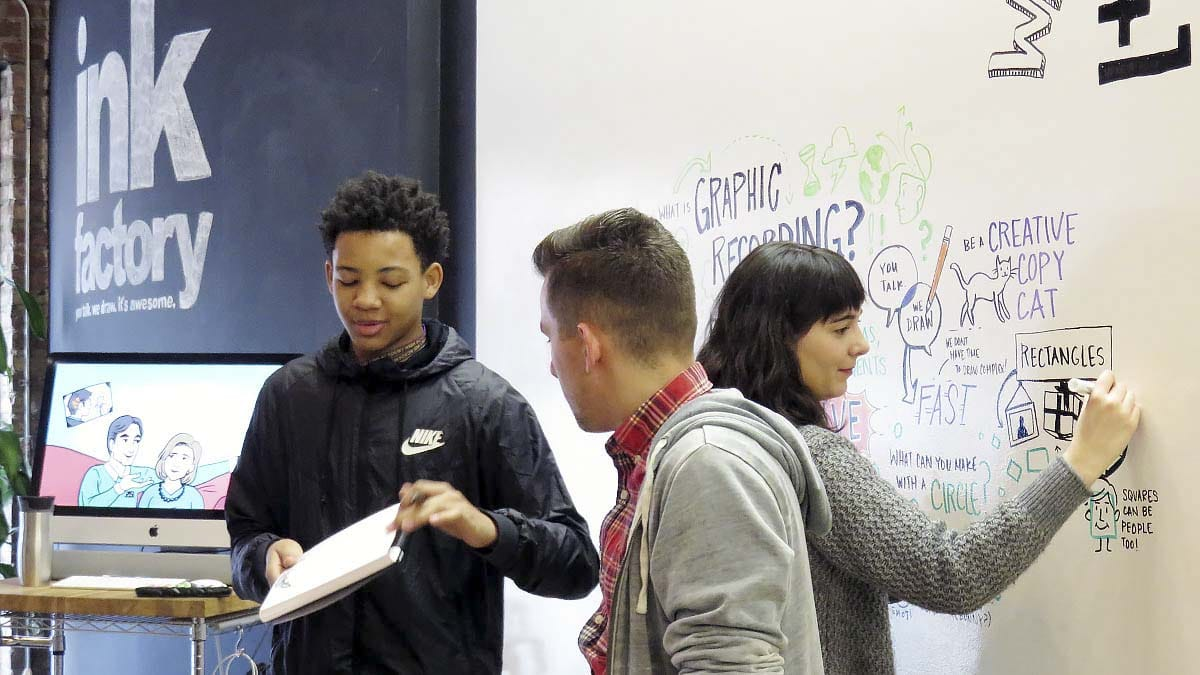 An EMBARC student shares his visual notes with the group