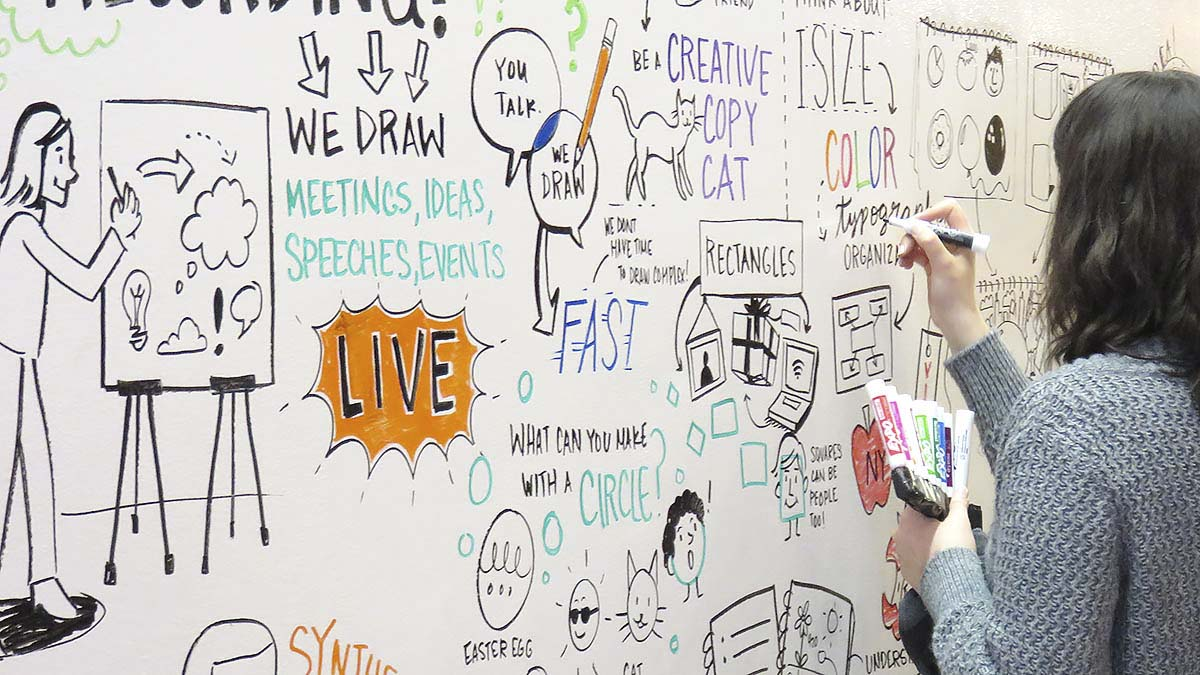 The Ink Factory team demonstrated live visual note-taking at the EMBARC workshop