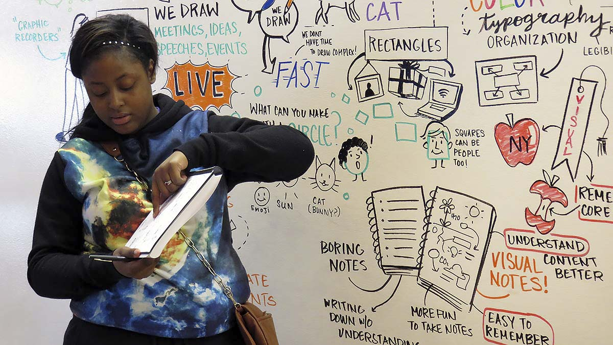An EMBARC student explains his sketchbook drawing