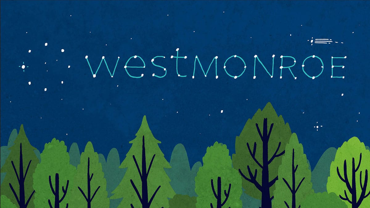 The West Monroe Partners logo animated in the sky
