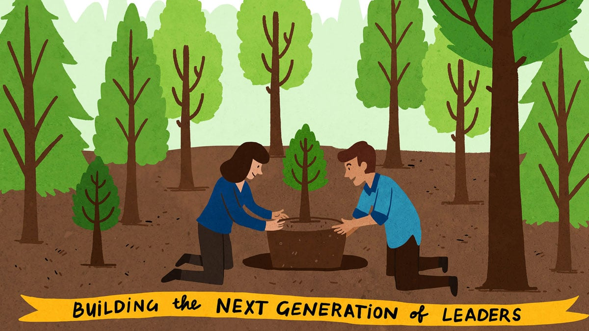 Two people plant a tree in the West Monroe animation