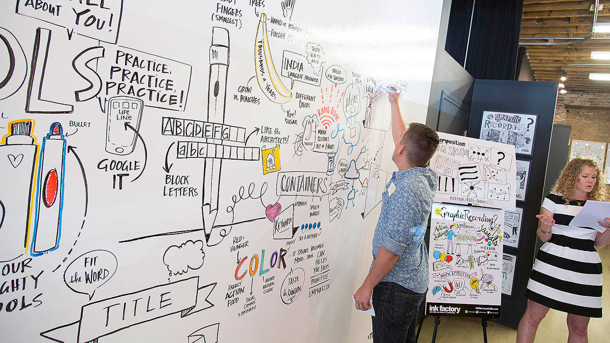 Ryan demonstrates graphic recording during the workshop