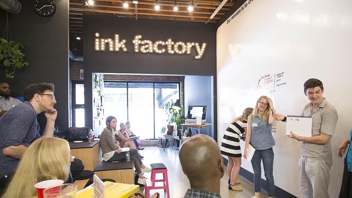 Ink Factory demonstrates visual note-taking on the whiteboard