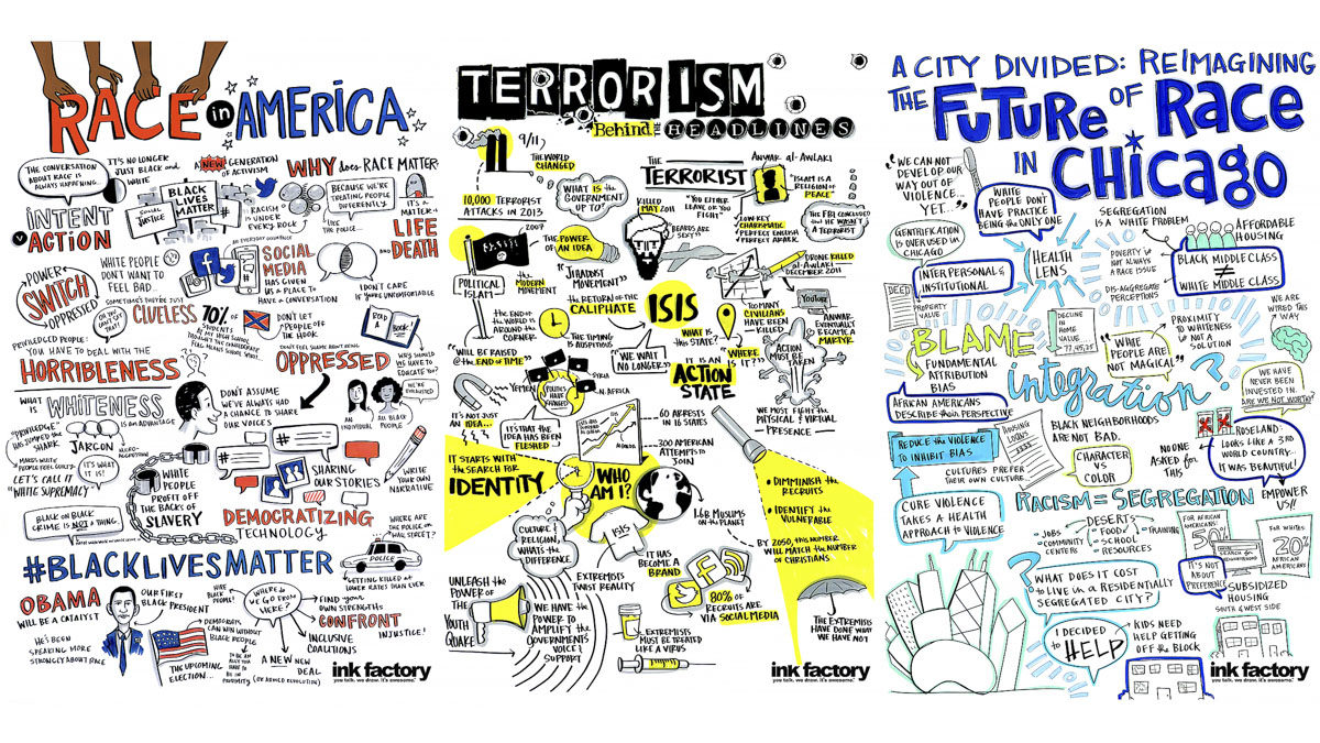 Visual notes on Cancer, Terrorism and Race in Chicago for Chicago Ideas Week