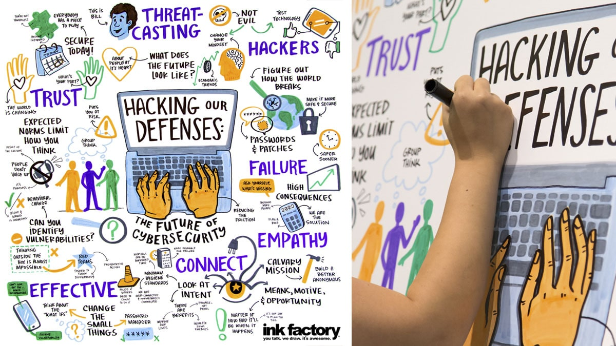 A visual note-taker draws for the Hacking Our Defenses Talk at Chicago Ideas Week