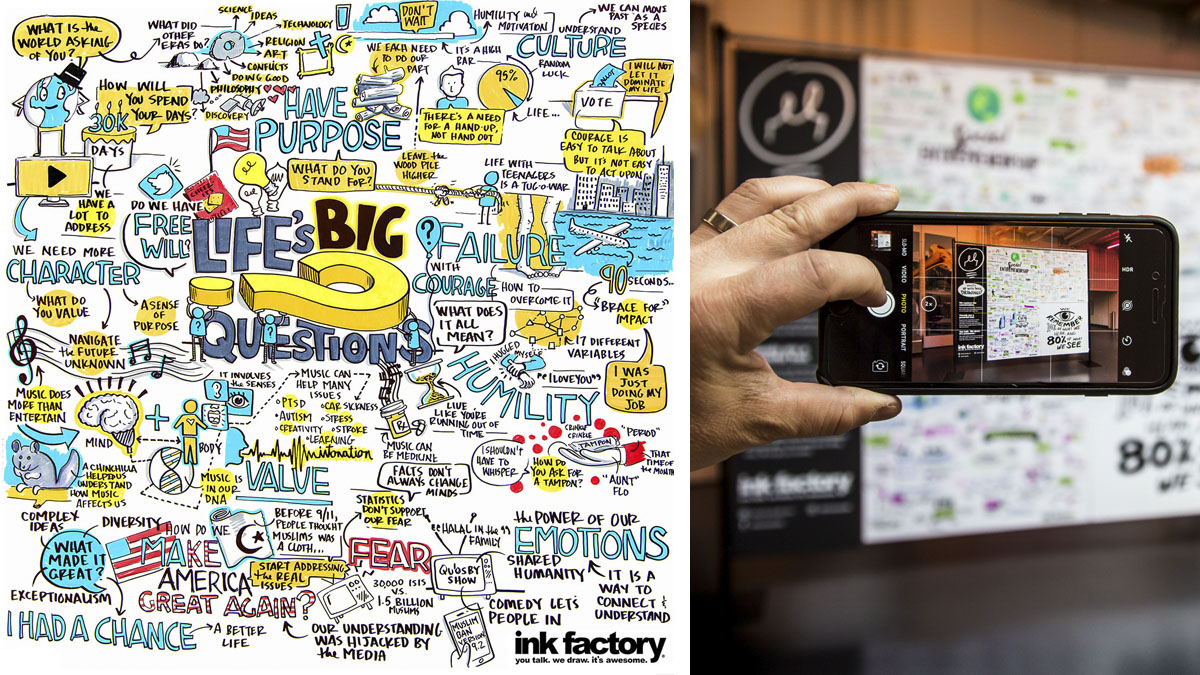 Ink Factory's visual notes for Life's Big Questions at Chicago Ideas Week