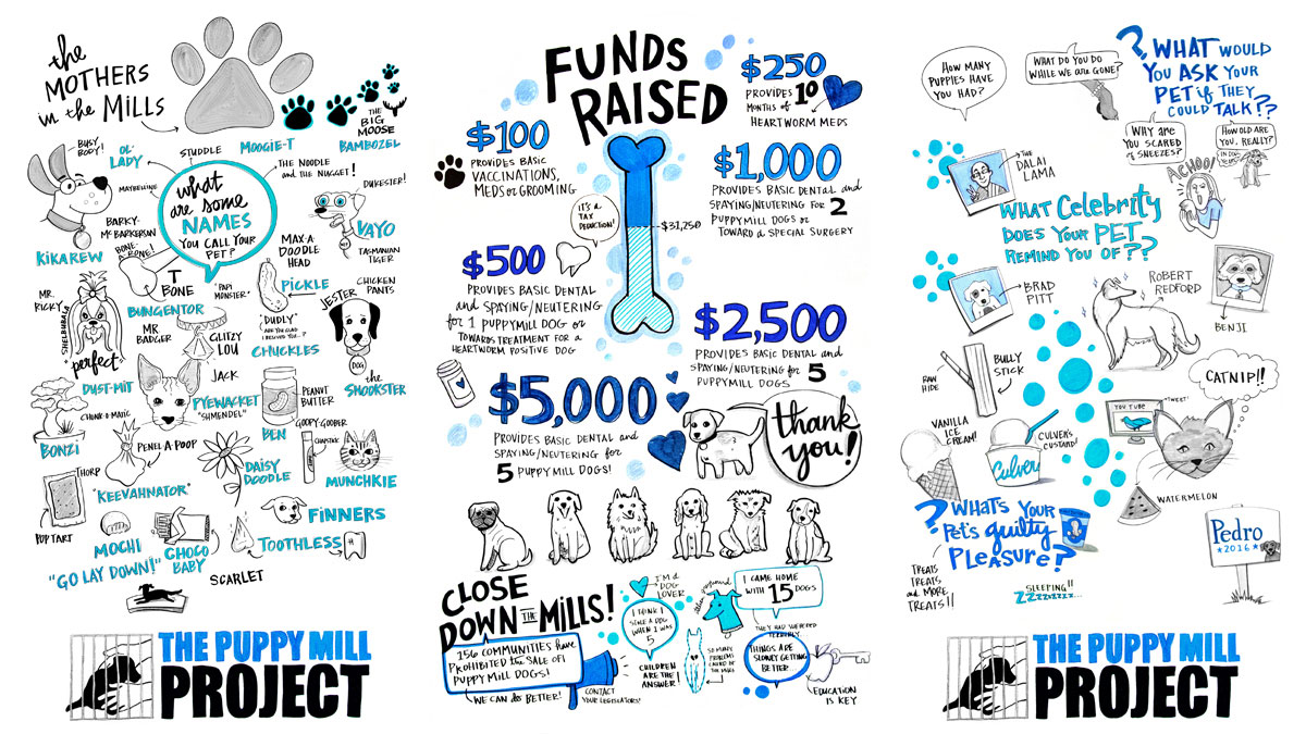 The final visual notes Ink Factory created for the Puppy mill Project