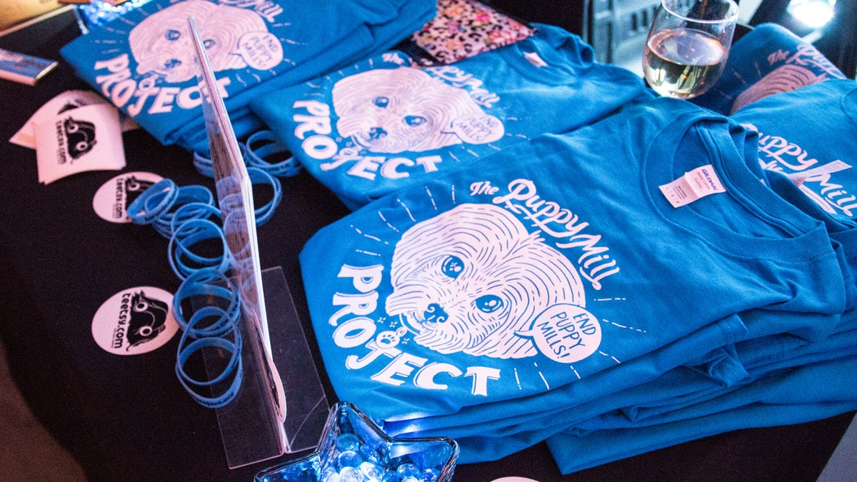 The shirts Ink Factory designed for the Puppy Mill Project