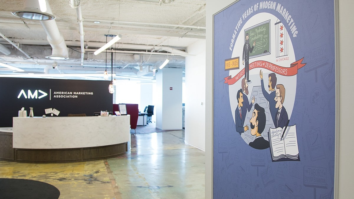 Visitors will see the mural as the enter AMA's offices in Chicago