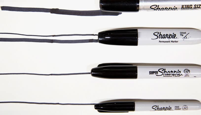 Different Sharpie markers we use at Ink Factory