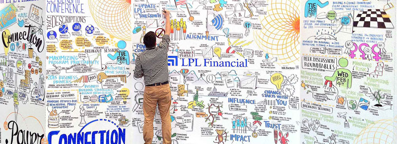 An artist working on a large living mural for LPL Financial