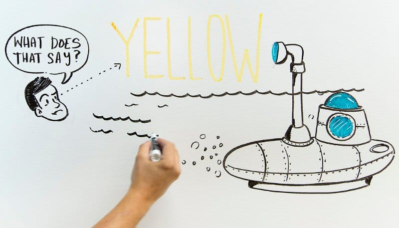Don't use yellow ink to write your office whiteboard ideas