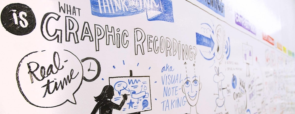 Whiteboard with drawings about graphic recording