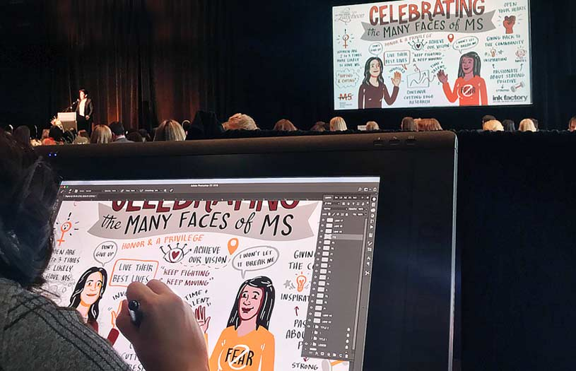 An Ink Factory artist uses a visual note-taking app and cintique tablet to create live visual notes