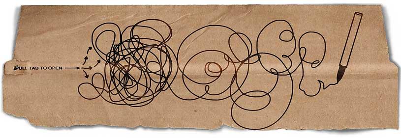 Scribbles on brown scrap paper