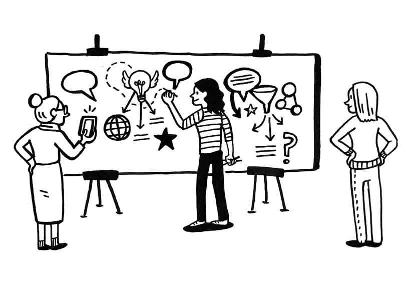 Black and white drawing of people watching visual note-taking