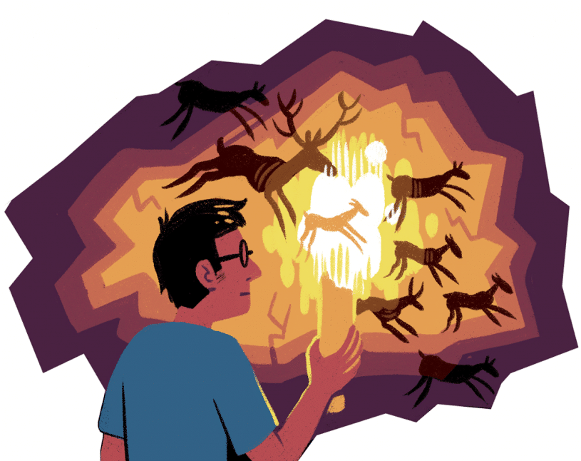 Man with fire and visual notetaking cave paintings