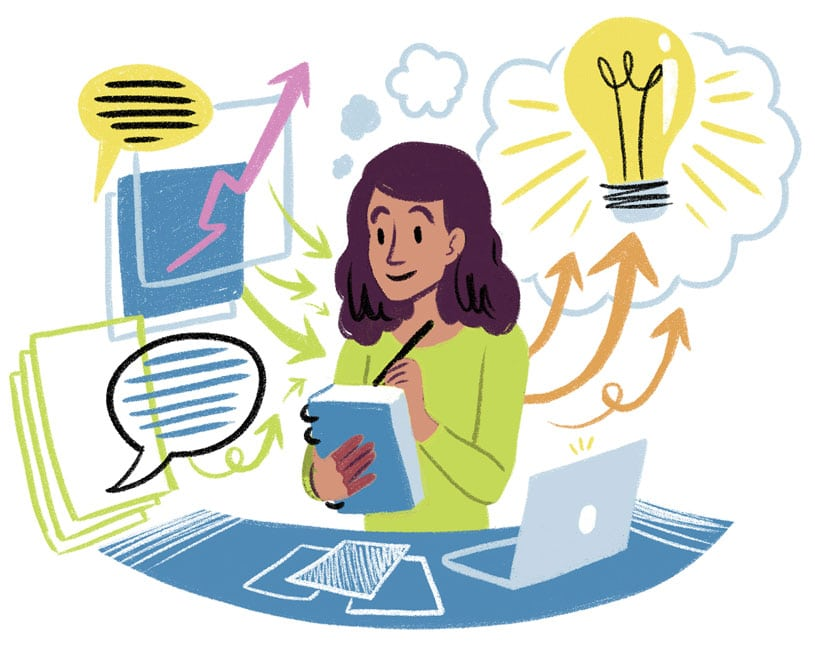 Woman writing surrounded by visual notetaking icons