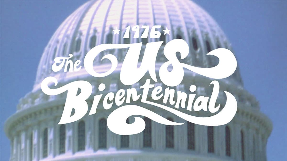 A title card designed for the US Bicentennial in Energy BBDO's animated video