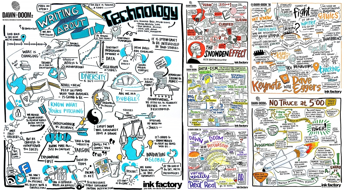 Visual notes from Dawn or Doom at Purdue University, created by Ink Factory