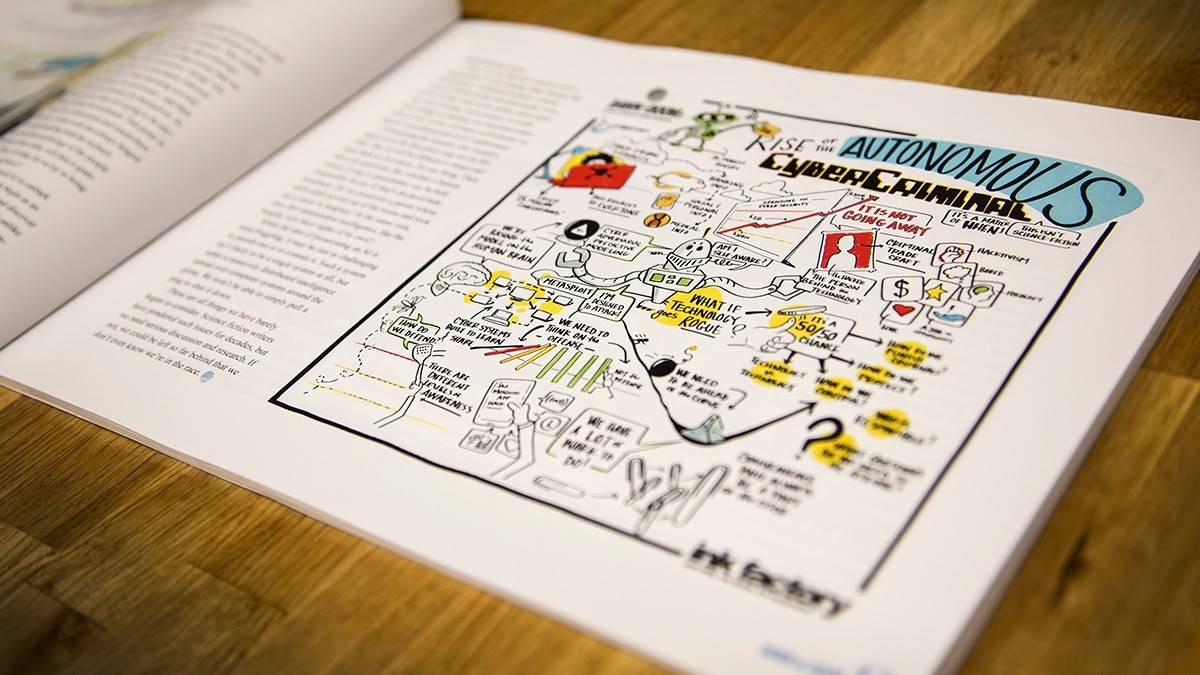 Visual notes printed in a book created by Purdue, recapping previous Dawn or Doom events