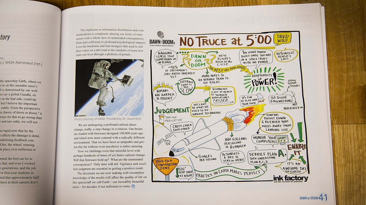 Visual notes accompanying information about Purdue's Dawn or Doom event