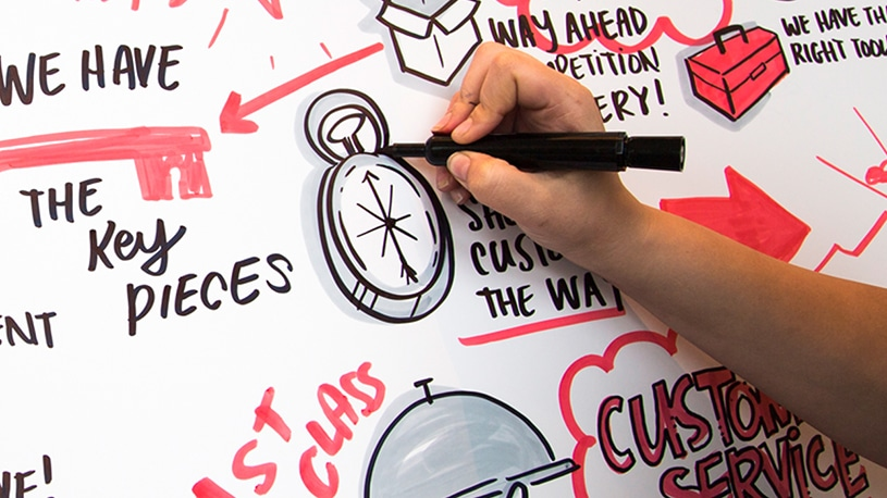 Drawing black and red visual notes with a compass illustration