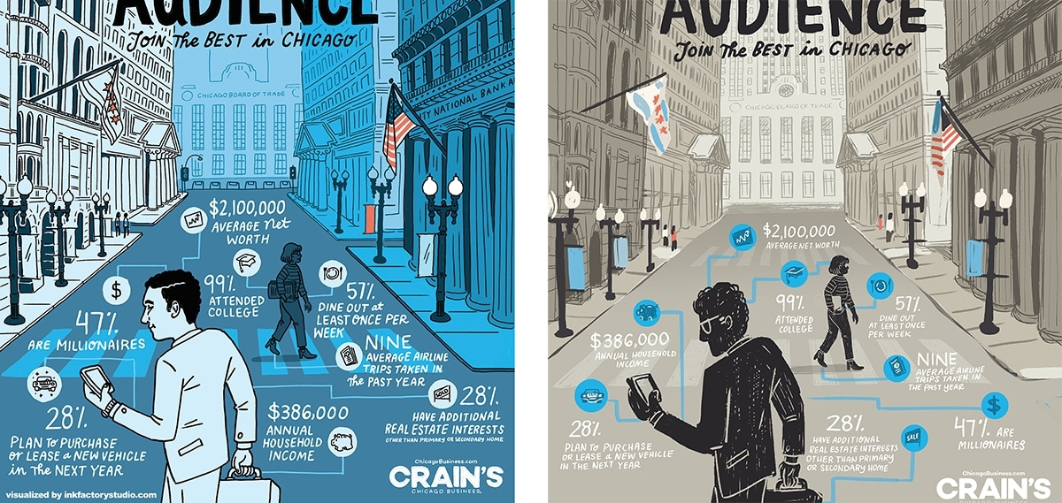 Crain's Chicago Business advertisement illustration by Ink Factory