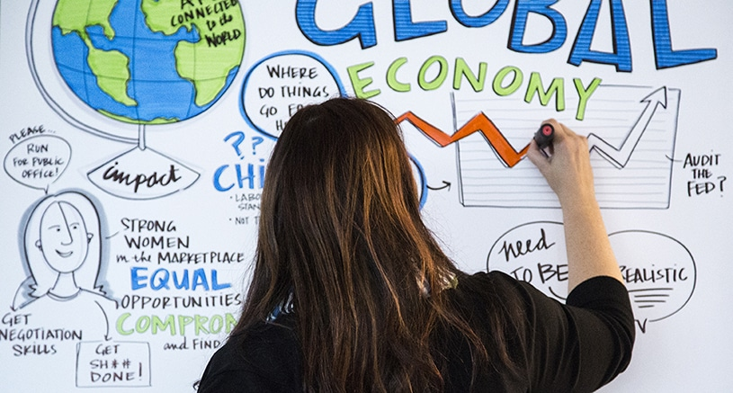 A visual note-taker draws at Chicago Ideas Week