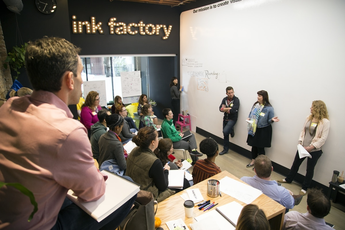 Attendees gather at Ink Factory to learn about graphic recording and visual notes