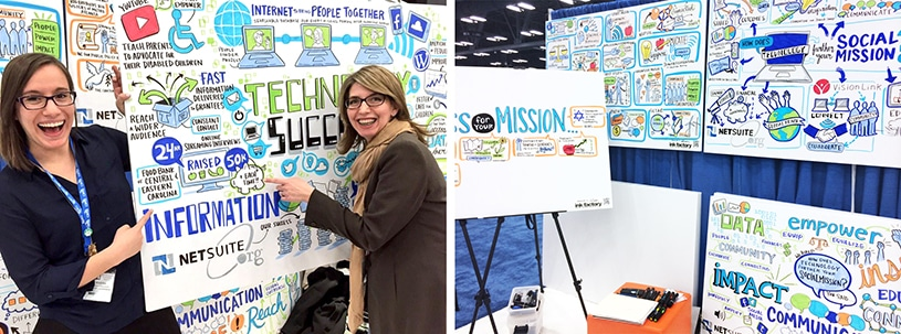 Conference attendees pose with visual notes created by Ink Factory showcasing their input at Netsuite