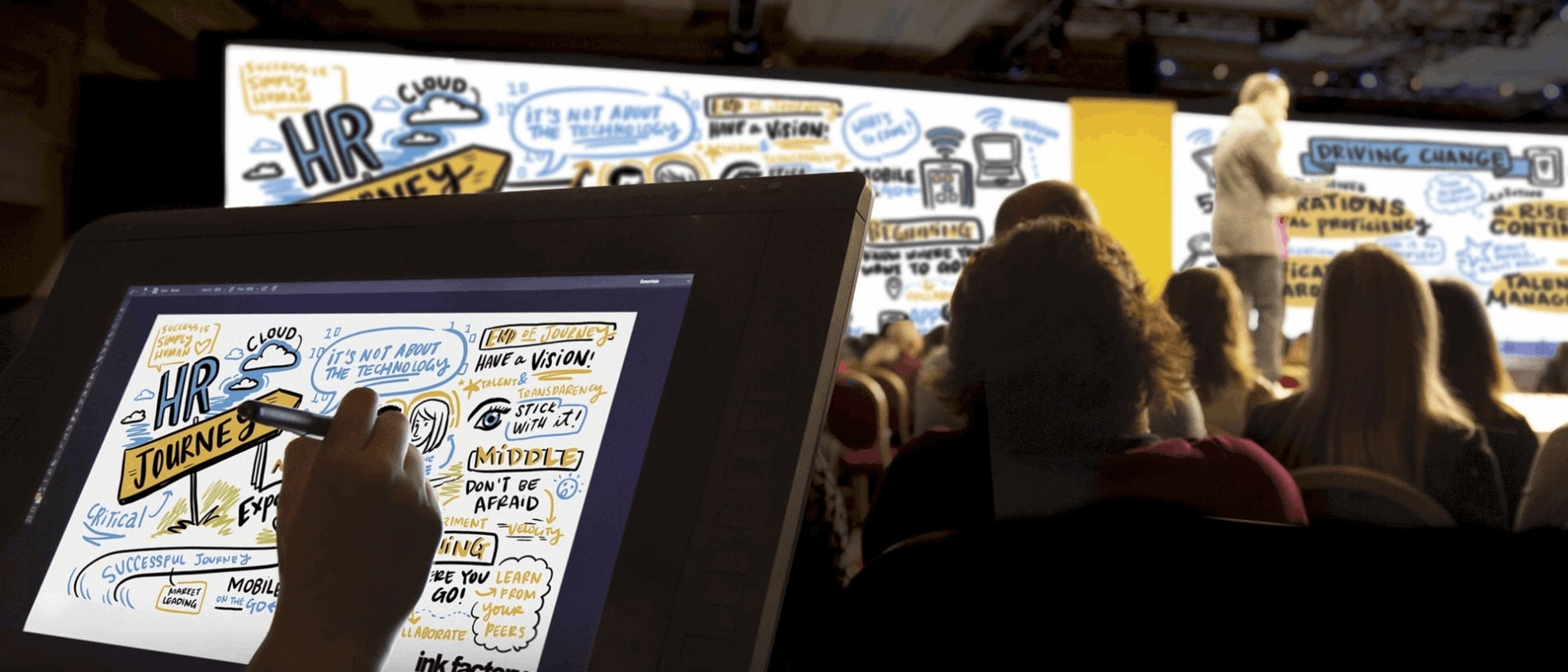 Drawing digital visual notes at a conference