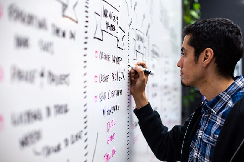 A note-taker captures office whiteboard ideas from a meeting