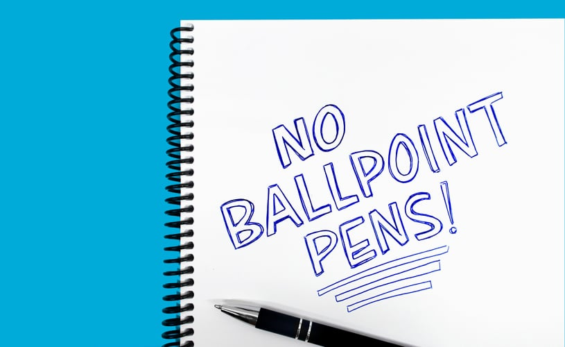Don't use ballpoint pens when improving your handwriting