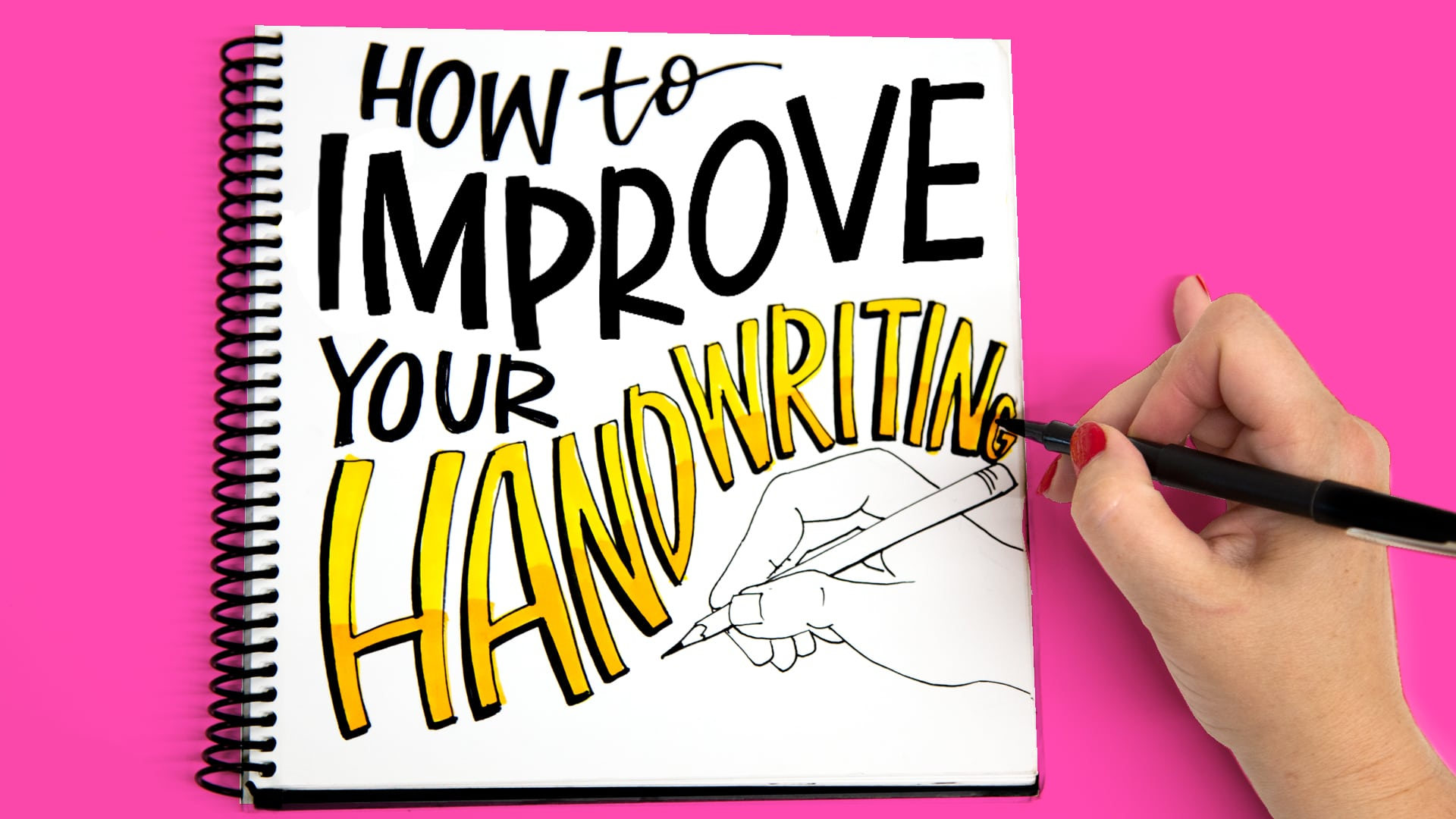 How To Improve Your Handwriting drawn in a sketchbook