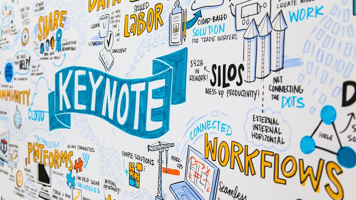 A live keynote visual note from Autodesk University
