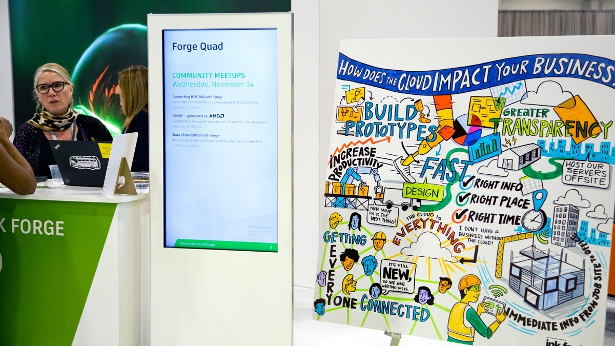 Visual notes at a trade show booth for Autodesk University