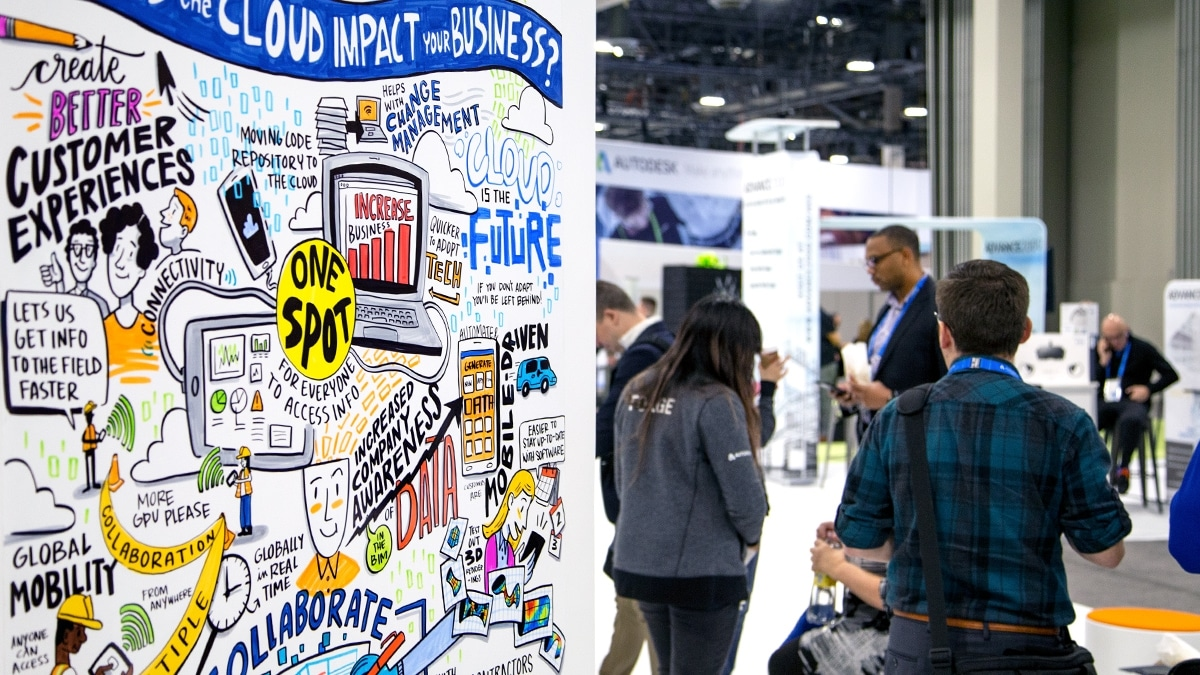 Visual notes on a trade show booth at Autodesk University