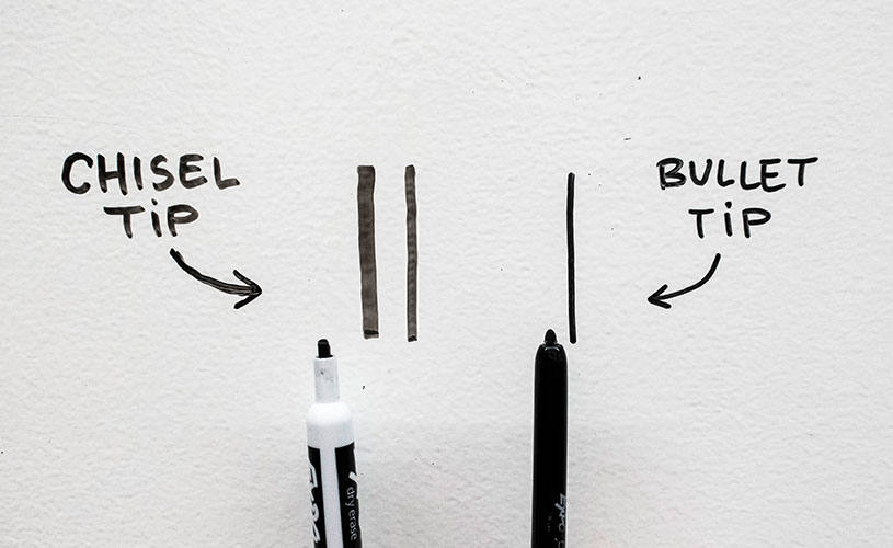 Chisel tip and bullet tip dry erase markers