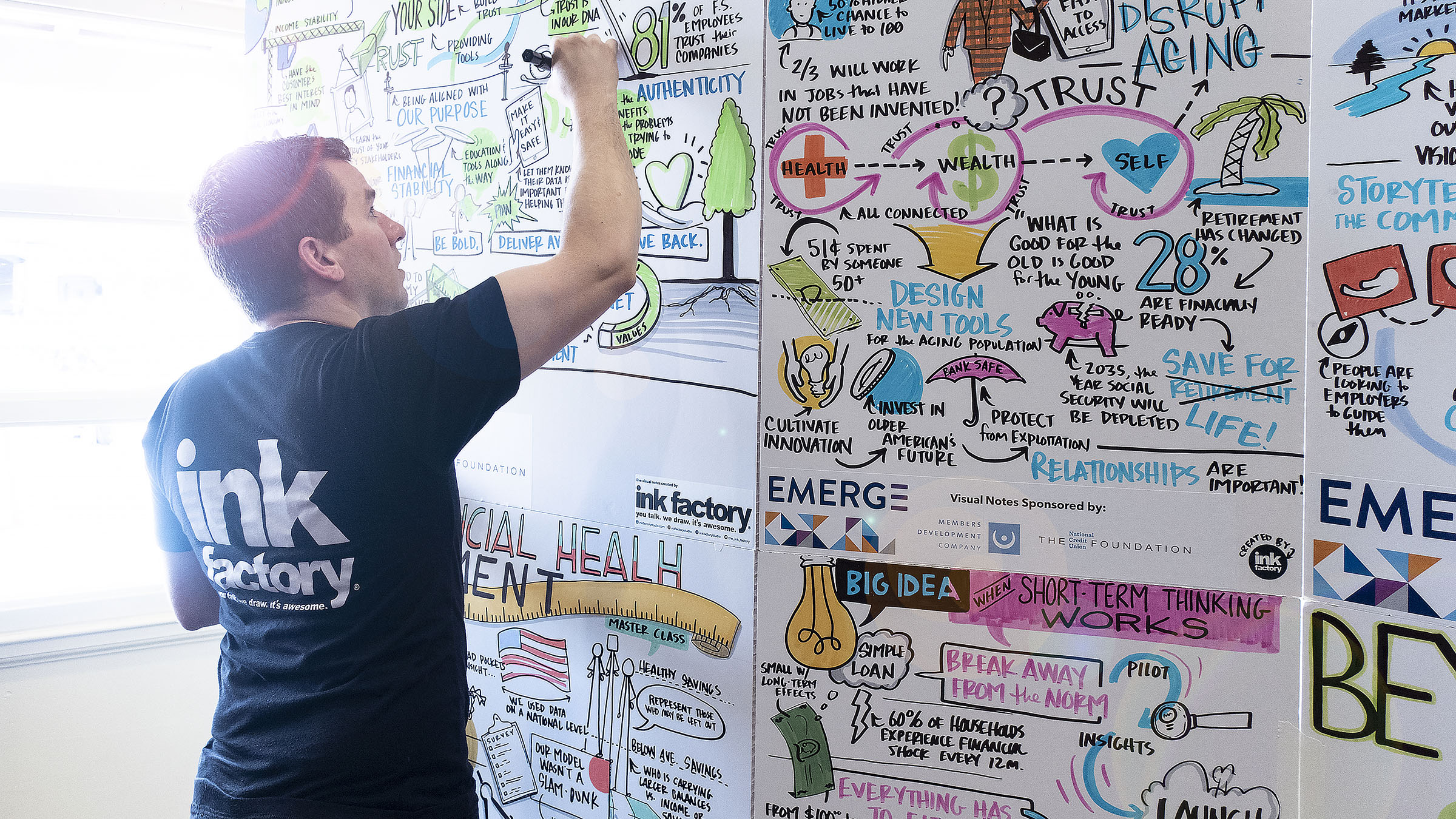 A live visual note-taker creating a living mural on display at a conference.