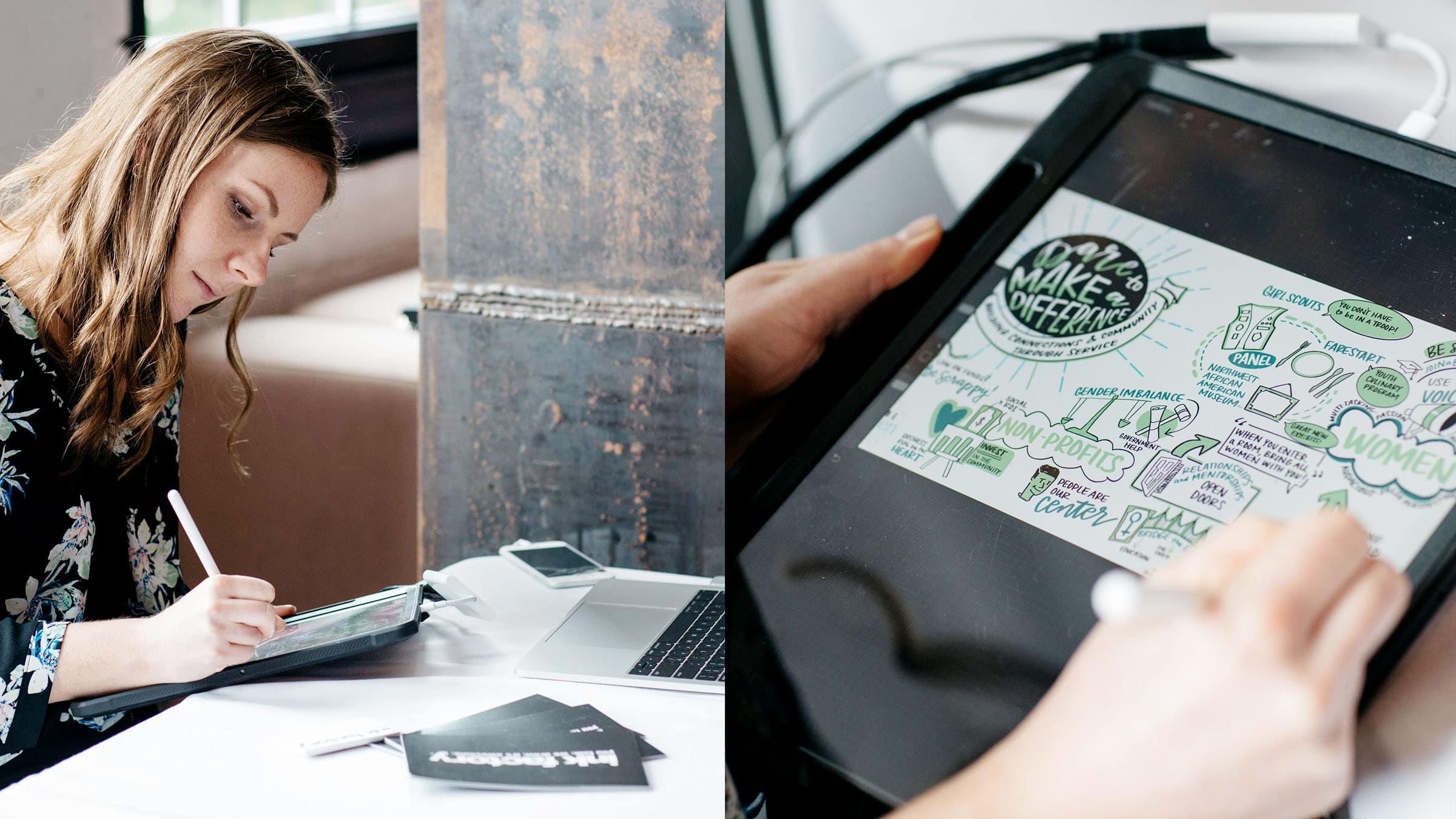 A digital visual notes artist capturing a keynote at a conference.