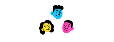 People drawn in pop colors as a team