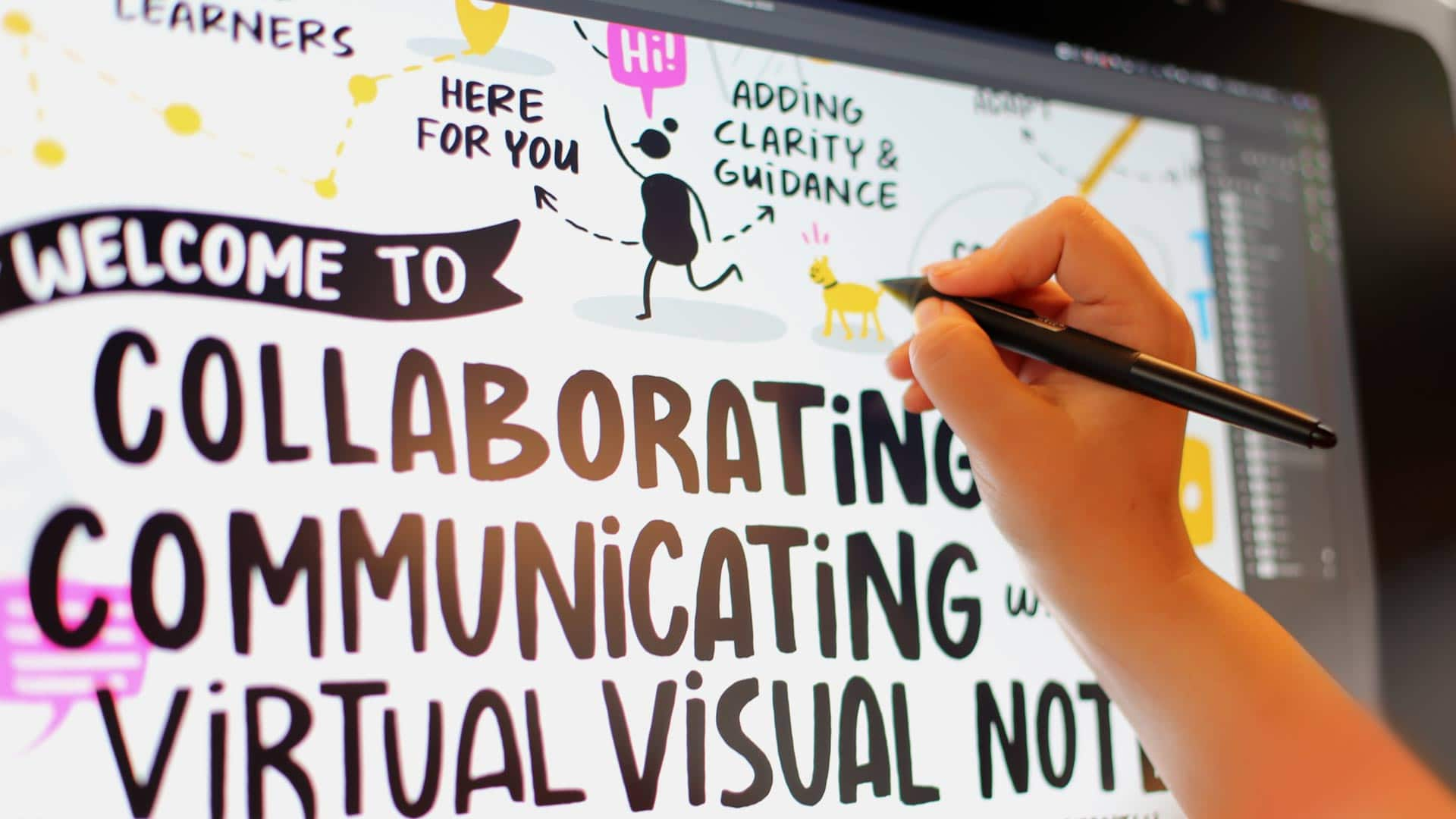 An artist draws live digital visual notes for a remote meeting