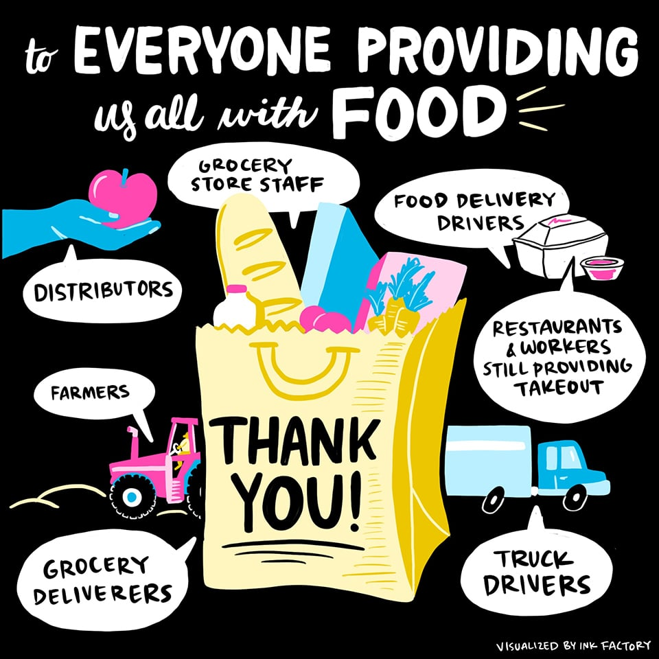 Thank you to everyone providing us all with food: grocery store staff, food delivery drivers, distributors, farmers, grocery deliverers, restaurant workers providing takeout, and truck drivers.