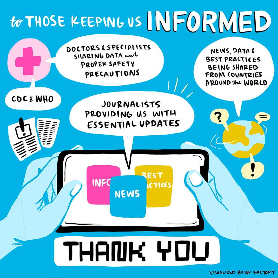 Thank you to those keeping us informed: the CDC and WHO, doctors and specialists sharing data and proper safety precautions, journalists providing us with essential updates, and news, data & best practices being shared from countries around the world.