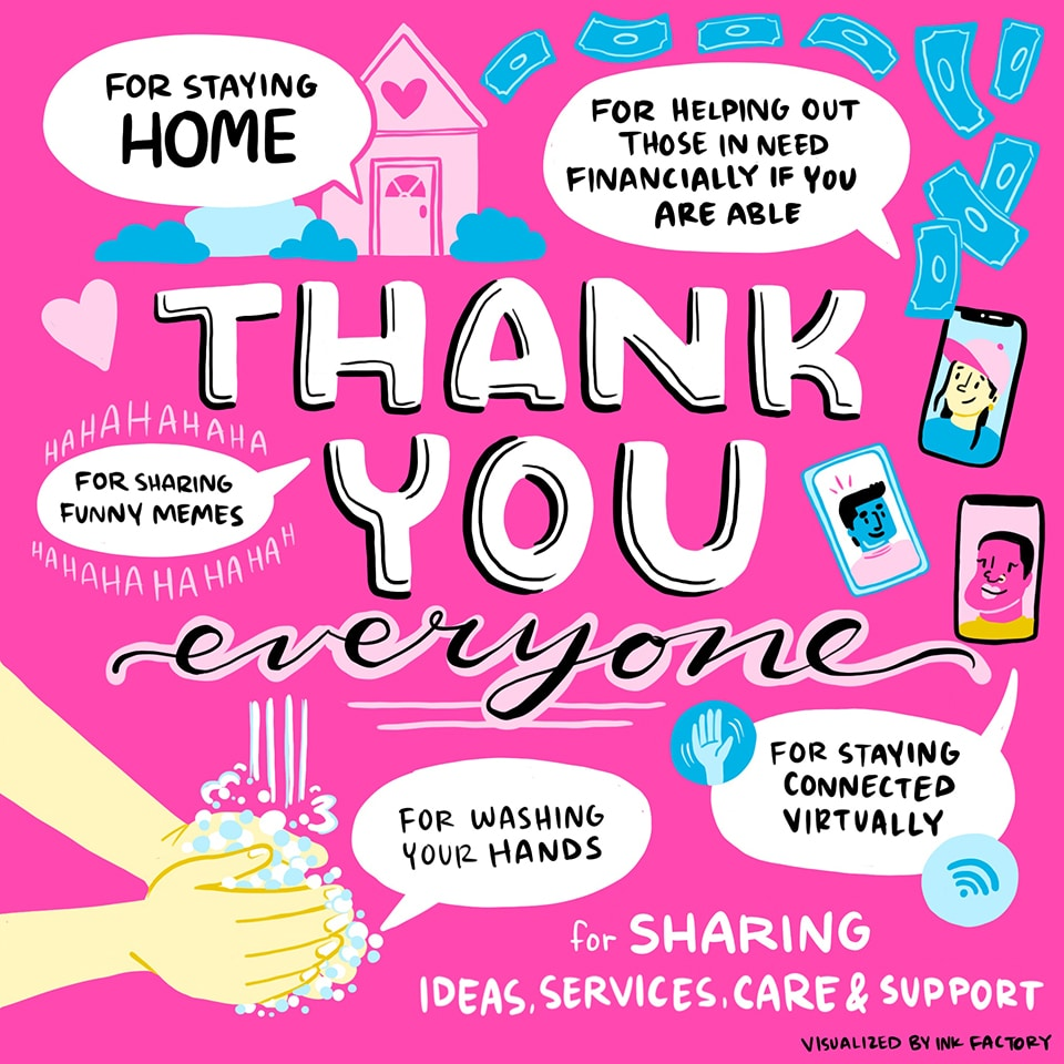 Thank you to everyone for staying home, sharing funny memes, helping out those who are in need, washing your hands, and staying virtually connected.