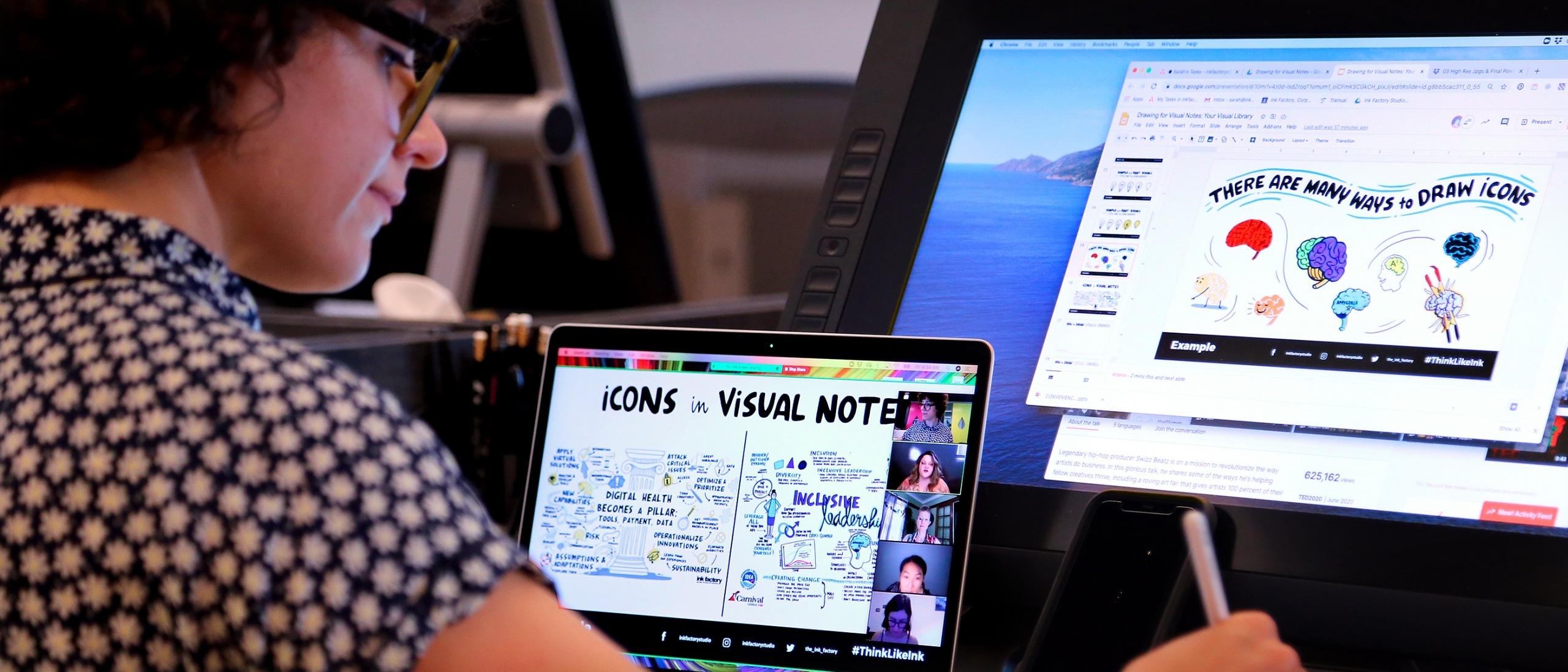 An ink factory team member teaches a virtual workshop
