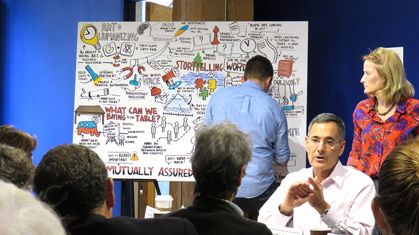 An artist captures creative marketing ideas in a graphic recording