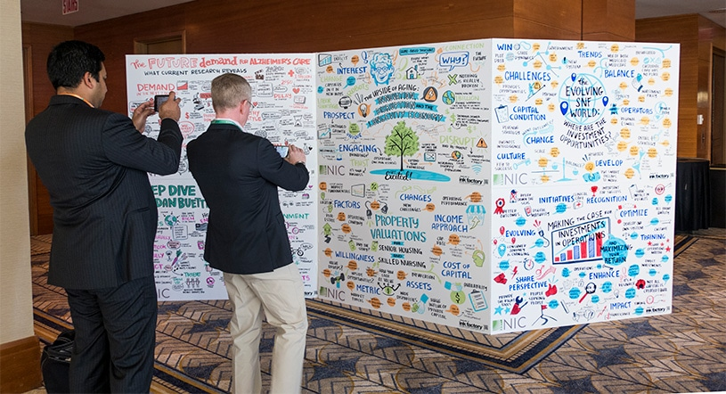 Event attendees snap a photo of visual notes
